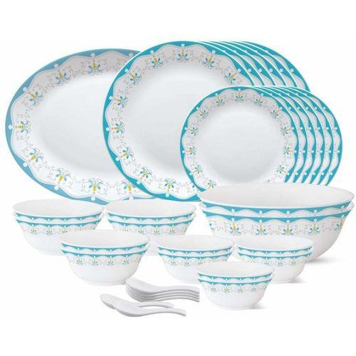 Borosil Pack of 33 Opalware Royal Jade Dinner Set(Microwave Safe)