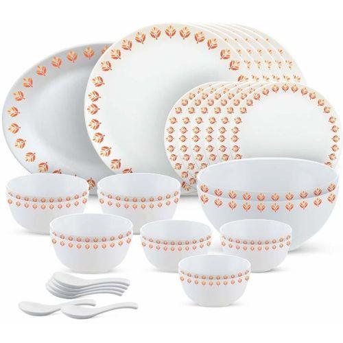 Borosil Pack of 33 Opalware Moon Series, Gardenia 33 Pieces Dinner Set(Microwave Safe)