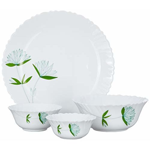 Borosil Fluted Lily Dinner Set, 14-Pieces, White
