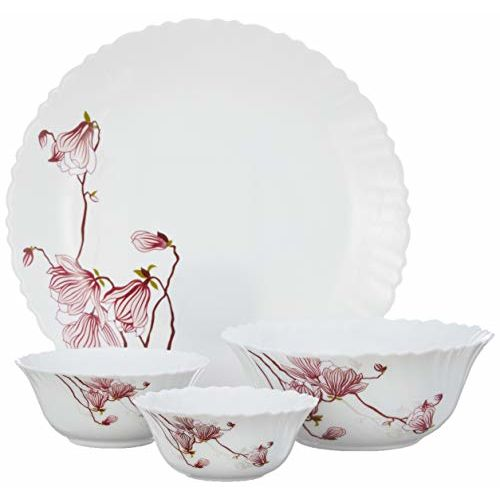 Borosil Fluted Lily Blossom Dinner Set, 14-Pieces, White