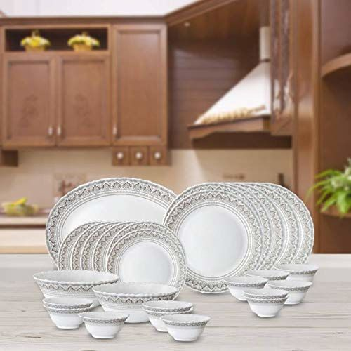 Borosil Classic Opalware Dinner Set, 27-Pieces, White_FCUP06002388