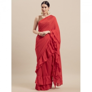 Florence Red Solid Poly Georgette Saree