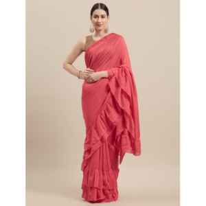 Florence Pink Solid Poly Georgette Saree