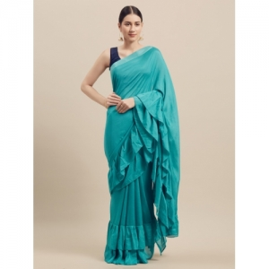 Florence Turquoise Blue Solid Poly Georgette Saree