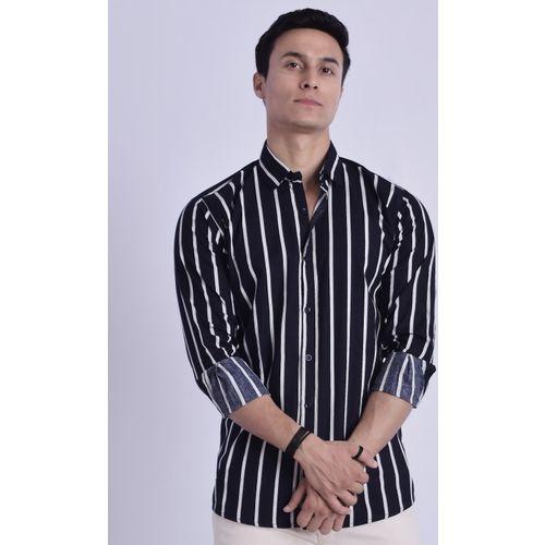 COBIO MAN Men Striped Casual Black Shirt