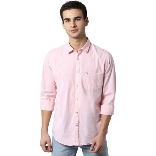 Peter England Men Solid Casual Pink Shirt