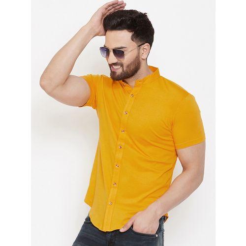 GESPO Men Solid Casual Yellow Shirt