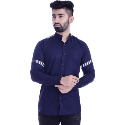 FOBIA Men Striped Casual Dark Blue Shirt