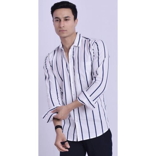 VERO LIE Men Striped Casual White Shirt