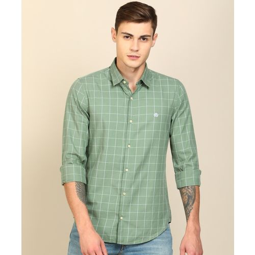 Peter England University Men Checkered Casual White, Green Shirt