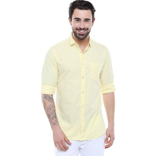 Dennis Lingo Men Solid Casual Yellow Shirt