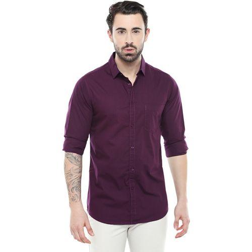 Dennis Lingo Men Solid Casual Purple Shirt
