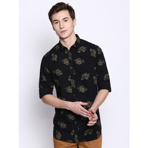 Dennis Lingo Men Floral Print Casual Black Shirt