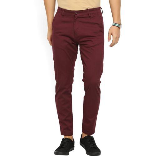 Highlander Slim Fit Men Maroon Trousers