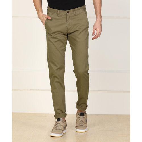 Arrow Sport Slim Fit Men Green Trousers