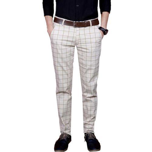 FUBAR Slim Fit Men Cream Trousers