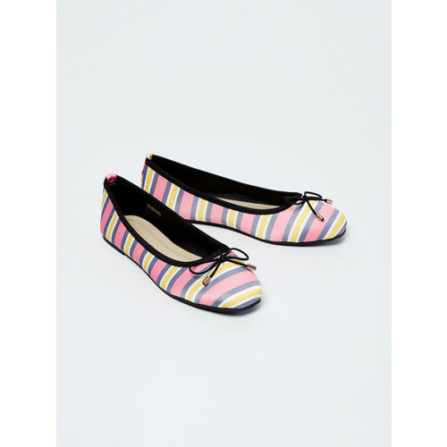 Fame Forever by Lifestyle Girls Pink Striped Canvas Ballerinas
