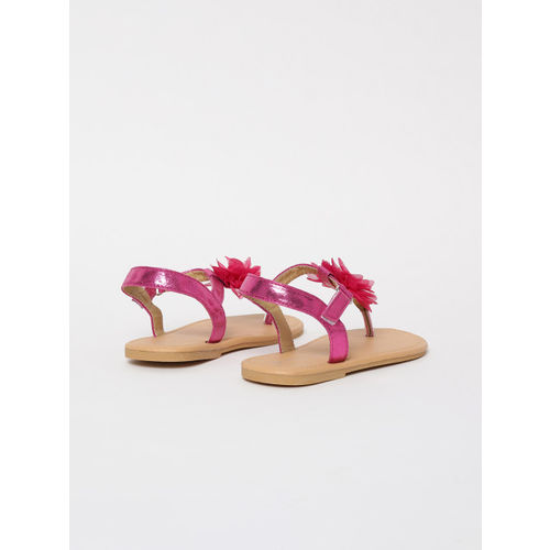 Fame Forever by Lifestyle Girls Pink Solid T-Strap Flats with Applique Detail
