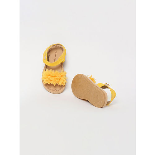 Fame Forever by Lifestyle Girls Mustard Yellow Applique Open Toe Flats