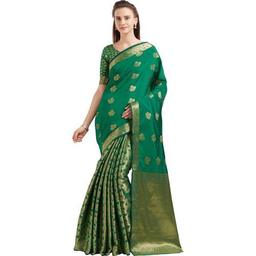 Bhelpuri Woven Fashion Tussar Silk Saree(Green)