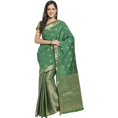 Bhelpuri Self Design Fashion Tussar Silk Saree(Green)