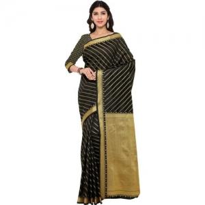 Bhelpuri Embellished Chanderi Cotton Blend Saree(Black)