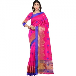 Bhelpuri Embellished Fashion Tussar Silk Saree(Pink)