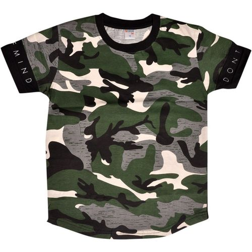 Esteem Boys & Girls Military Camouflage Cotton Blend T Shirt(Multicolor, Pack of 1)