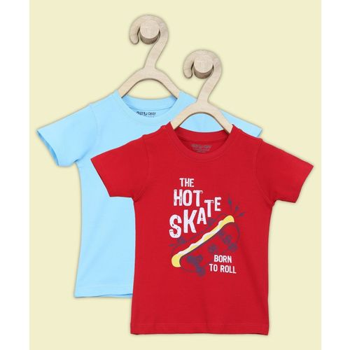Miss & Chief Boys Printed Pure Cotton T Shirt(Red, Pack of 2)