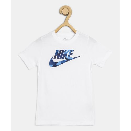 Nike Boys Printed Pure Cotton T Shirt(White, Pack of 1)