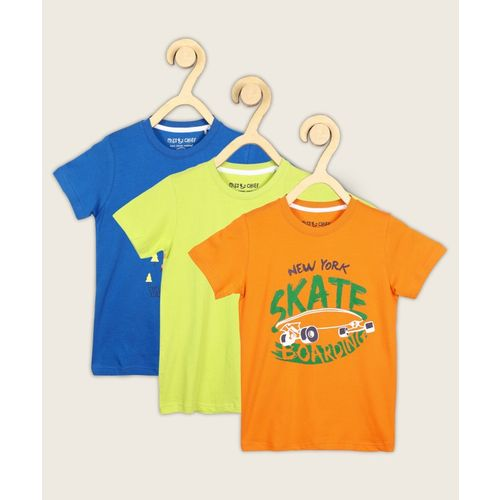 Miss & Chief Boys Printed Pure Cotton T Shirt(Multicolor, Pack of 3)