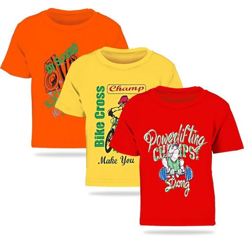FabTag - Kiddeo Boys Printed Cotton Blend T Shirt(Multicolor, Pack of 3)