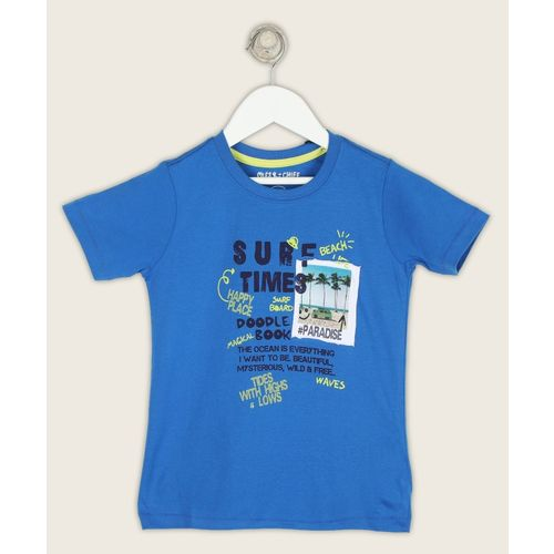 Miss & Chief Boys Printed Pure Cotton T Shirt(Blue, Pack of 1)
