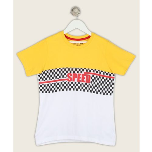 Miss & Chief Boys Printed Pure Cotton T Shirt(Multicolor, Pack of 1)