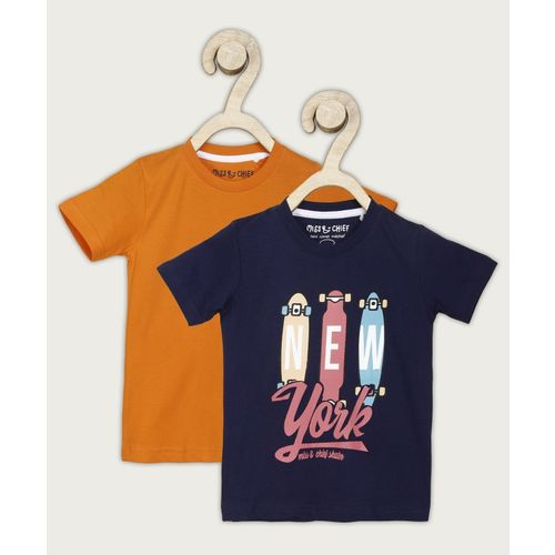 Miss & Chief Boys Printed Pure Cotton T Shirt(Orange, Pack of 2)