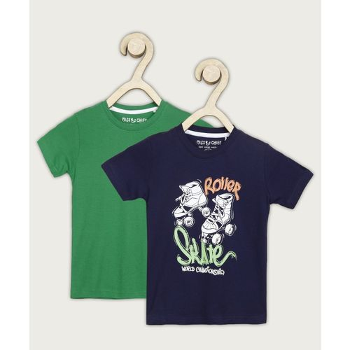 Miss & Chief Boys Printed Pure Cotton T Shirt(Dark Blue, Pack of 2)