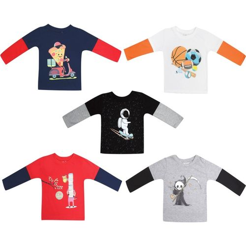 Kuchipoo Boys & Girls Printed Pure Cotton T Shirt(Multicolor, Pack of 5)