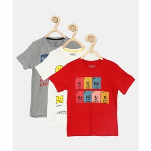 Cherokee Boys Printed Cotton Blend T Shirt(Multicolor, Pack of 3)