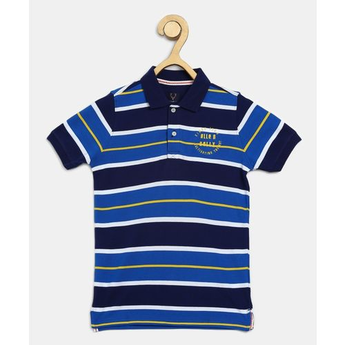 Allen Solly Junior Boys Striped Pure Cotton T Shirt(Blue, Pack of 1)