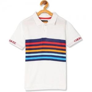 Cherokee Boys Striped Cotton Blend T Shirt(White, Pack of 1)