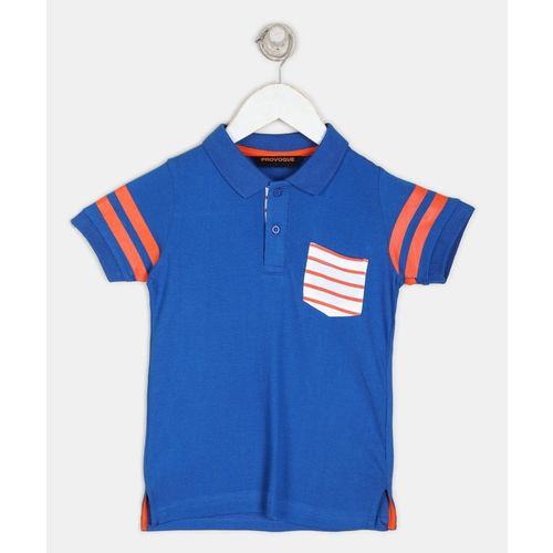 Provogue Boys Solid Pure Cotton T Shirt(Blue, Pack of 1)