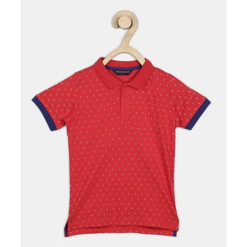 Provogue Boys Polka Print Cotton Blend T Shirt(Red, Pack of 1)