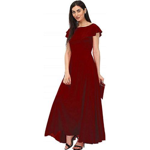 KHODALFAB Women Gown Maroon Dress
