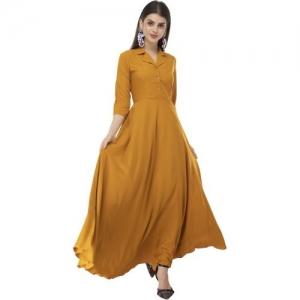 Rudraaksha Yellow Crepe Solid Dress With Mask