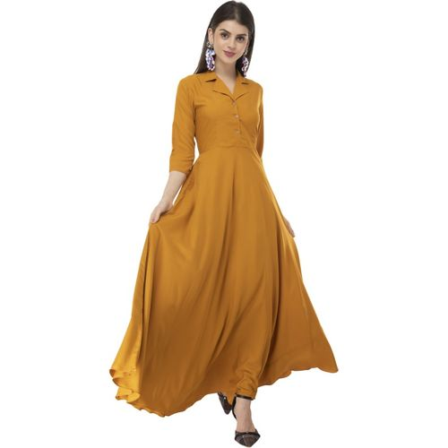 Rudraaksha Yellow Crepe Solid Dress With Mask