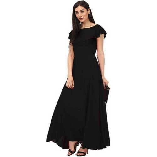 KHODALFAB Women Gown Black Dress