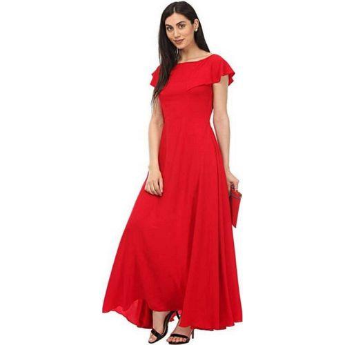 KHODALFAB Women Gown Red Dress