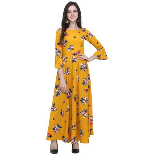 Shiv Retail Women Gown Yellow Dress
