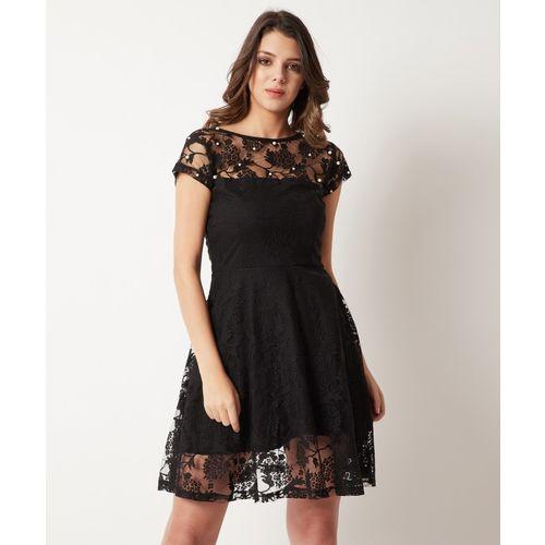 Miss Chase Women Skater Black Dress