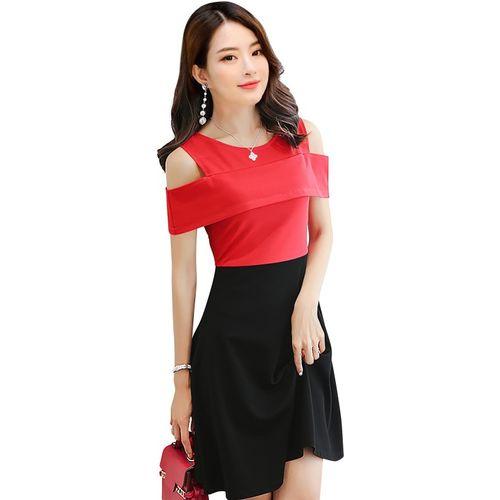 ILLI LONDON Women Skater Red, Black Dress